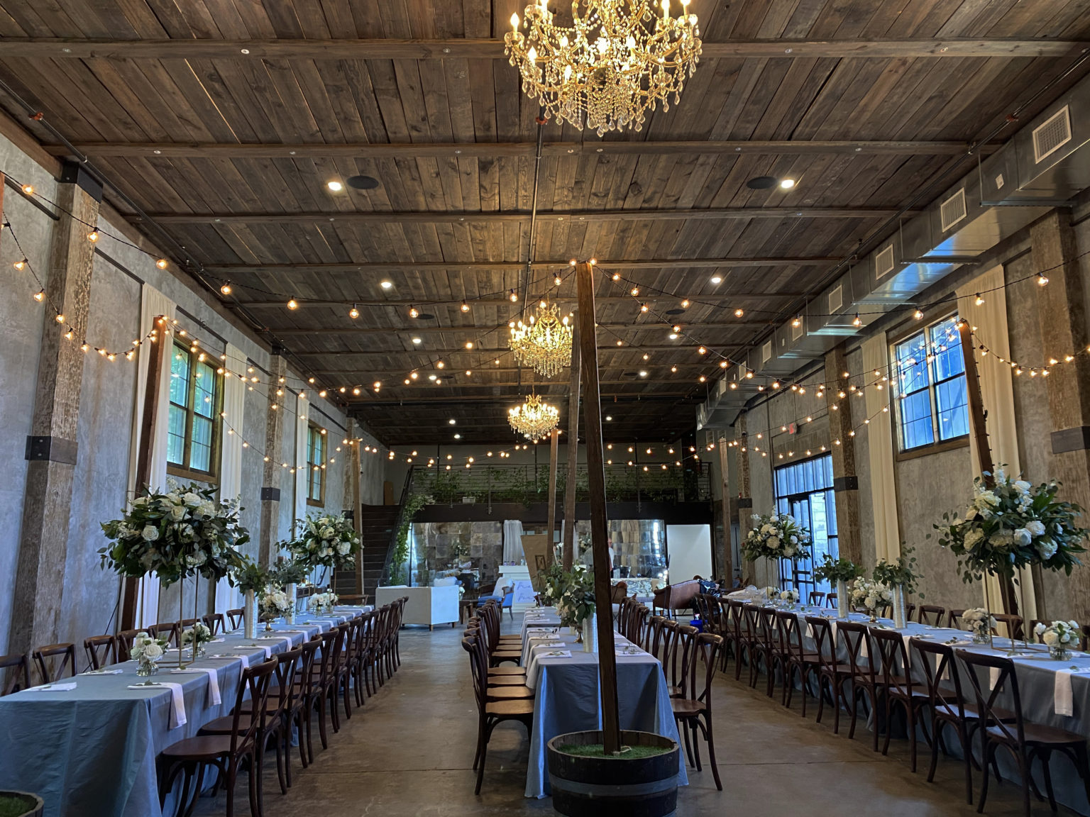 Wedding tables at industrial event center in Edmond, OK
