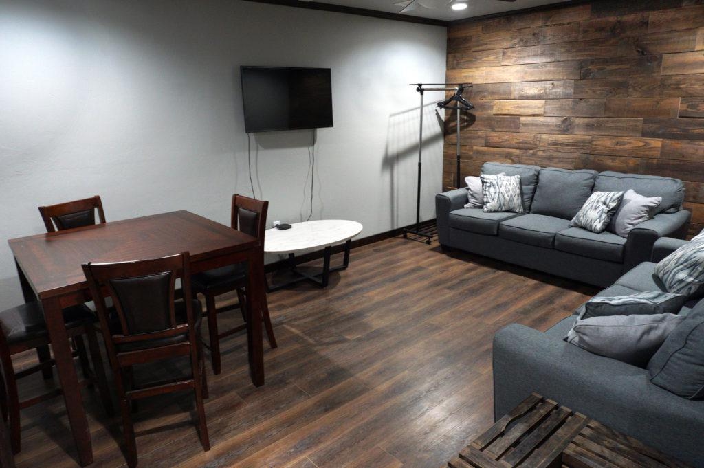 classy grooms room at venue 102 event center in Edmond, OK